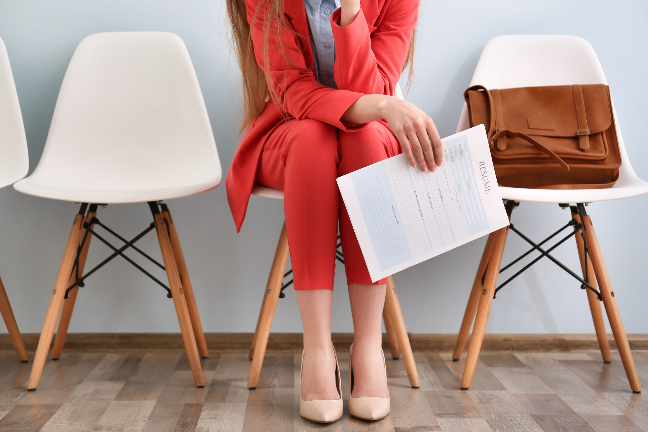 woman at interview waiting